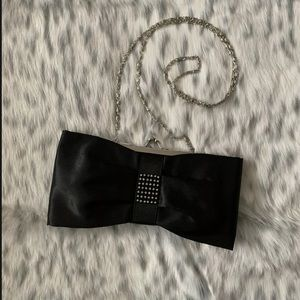 Handbags - Black Bow Shape Clutch Evening Bag Crossbody Purse
